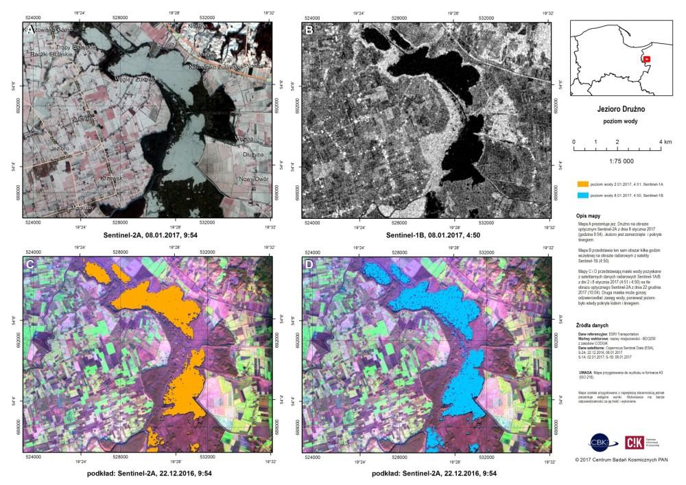 Mapy sytuacyjne dla okolicy jeziora Drużno