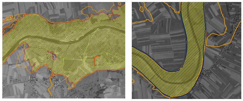 Przykładowe obszary bezpośredniego zagrożenia powodzią (Źródło: http://www.pogorzedynowskie.pl)