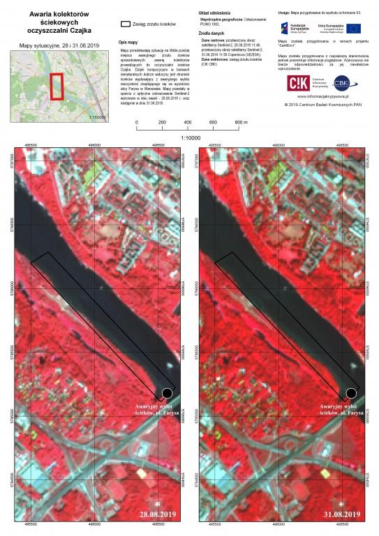 Ścieki w Wiśle na obrazach Sentinel-2