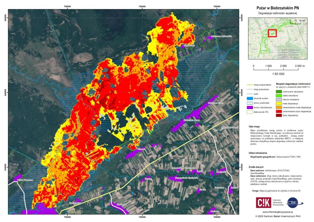 Wskaźnik intensywności ognia dla pożaru w Biebrzańskim Parku Narodowym